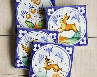 Tiles ceramic hand painted ceramic tiles, handmade tiles, decoration home, support for cups, wall decoration