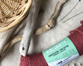 Macrame cord, burgundy cotton rope, naturally dye, macrame rope, cotton cord 3 mm, macrame cord, 3mm twisted rope, macrame project