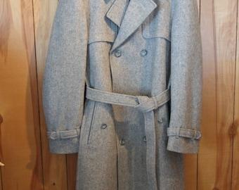 Vintage Light Grey Wool Men's Trench Coat Size 44