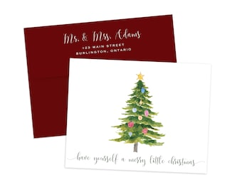 Holiday Card Set, Merry Christmas Card Set, Watercolor Christmas Tree Cards, Holiday Cards, Greeting Cards, Christmas Card Box Set