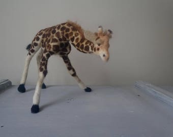 Felted Giraffe Needle felted animal sculpture Made to Order animal art
