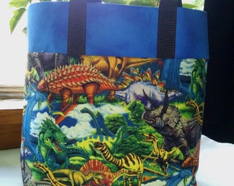 Childrens Tote Dinosaur Tote Bag Book Bag Boys Dinosaur Bag