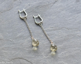 Lemon Quartz and sterling silver dangle earrings