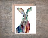 Bunny Rabbit, Easter Blank Note Card Set Watercolor (Set of 10 cards)