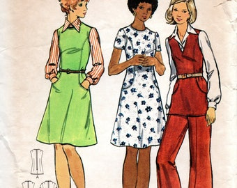1970s Butterick Sewing Pattern 3032 Semi-fitted A-line Tunic Dress Size 14 1/2