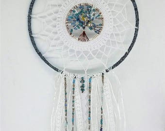 """Blue dream"" dream catcher with crocheted white cotton with lace and pearls"