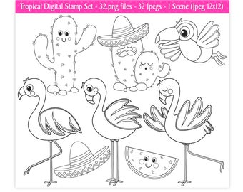 Flamingo Digital Stamps,Cactus Digital Stamps,Toucan Stamps,Digital Stamps,Flamingo Clipart,Tropical Clipart,Scrapbooking,Commercial Use