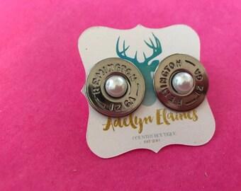 Pearl Center Remington 12 Gauge Shotgun Shell Earring Studs // Bullet Jewlery // Bullet Earrings