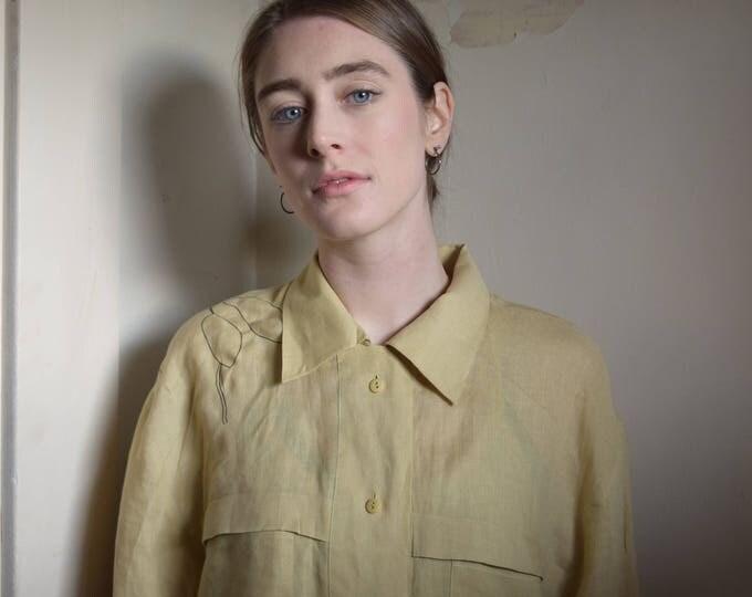 Lydia Wheat Linen Long Sleeve Shirt