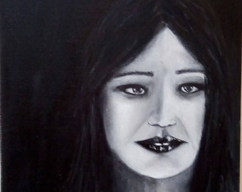 Black & White Portrait- Beautiful original one of a kind  oil painting  *******NOW Free Shipping *****