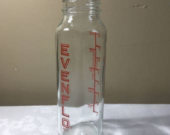 EVENFLO Glass Baby Bottle, Vintage 1960s  to 70s, EVENFLO Red Logo, Baby Shower Decor/Gift, Nursery Decor, Collectible Vintage Bottle