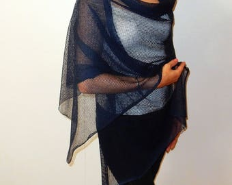 Summer shawl linen knit womens scarves navy shawl blue wraps shawls summer linen scarf wrap knit light scarf fashion accessories linen knits