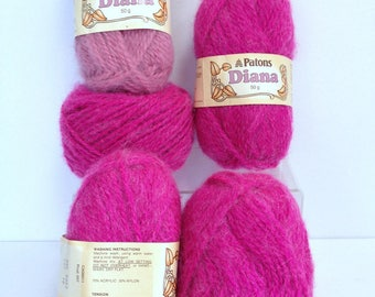 Patons Pink Yarn Bundle, Diana Chunky Yarn Destash, Thick Bright Pink Yarn for Knitting or Crocheting