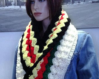 Hudson's Bay Blanket Colored Double Thick Extra Long Crocheted Winter Infinity Hooded Cowl Scarf Reversible Colors & READY TO SHIP
