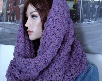Handmade Hooded Scarf Ultra Violet Double Thick Crochet Blanket Stitch Winter Cowl Valentine Gift for Her, Thick Purple Scarf READY TO SHIP