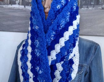 HUGE Scarf Blue and More Blue Scarf Extra Thick Scarf Extra Long Scarf in White & Blue Cobalt Royal Indigo Inky Sapphire Electric Denim Blue
