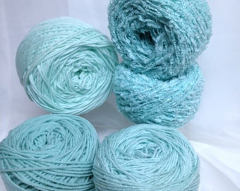 Silver Sparkle Yarn, Green Yarn Bundle, 5 Yarn Cakes Light Green Boucle Yarn in Soft Green Shades