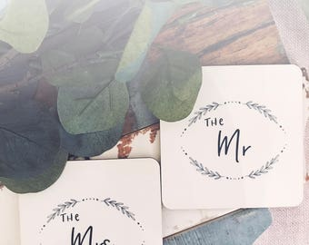 The Mrs and The Mr Coaster Set - Saying Coasters- Wedding