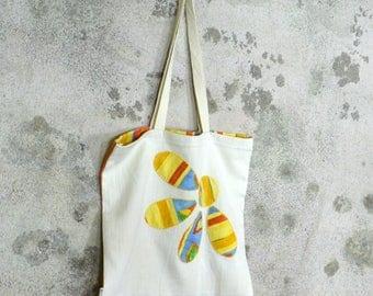 Borsa fatta a mano in stoffa tela riciclata, per la spesa personalizzata,borsa floreale, idea regalo per lei, sacca, sporta, bag, bourse