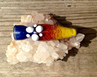 Glass Chillum, Colorado Pipe, Red Yellow and Blue Glass Smoking Pipe