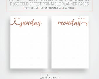Printable 2017 - 2018 inserts, Rose gold planner, A5 inserts, Daily schedule, 2018 daily planner, Instant download, 2018 A5 inserts