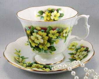 Royal Albert Teacup & Saucer, Primrose Pattern, Gainsborough Shape,Gold Rims, Bone English China made in 1960s