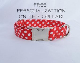 "Red polka dots, adjustable dog collar, Metal buckle, medium, 1"", Dog Collar, FREE PERSONALIZATION"
