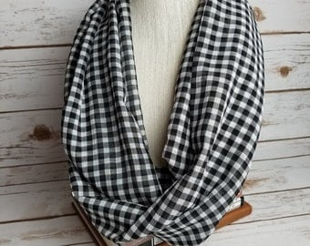 Gingham black and white infinity scarf