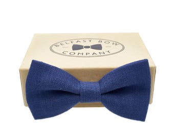 Irish Linen Bow Tie in Dark Blue - Adult & Junior sizes available