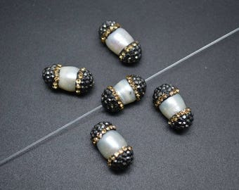 10pc Paved Gold Crystal Natural Fresh Water Pearl Potato Tube Loose Beads DIY Jewelry making materials