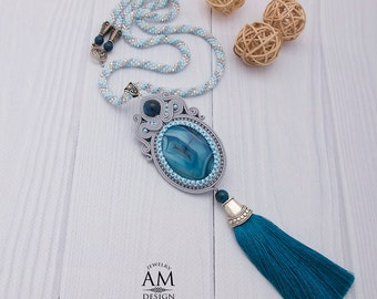 Blue Tassel Necklace Beaded Statement Necklace Boho Long Necklace Soutache Gray Jewelry
