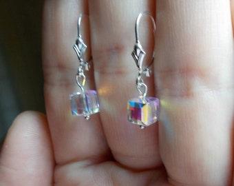 Solid sterling silver leaded glass leverback earrings