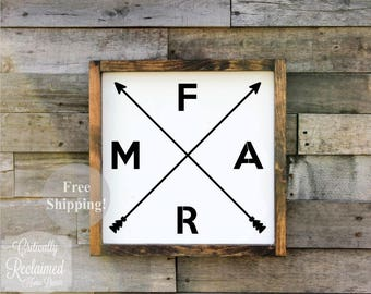 Wood Sign • Farm with Arrows • Free Shipping • Home Decor • Farmhouse Decor • Many Sizes to Choose From!