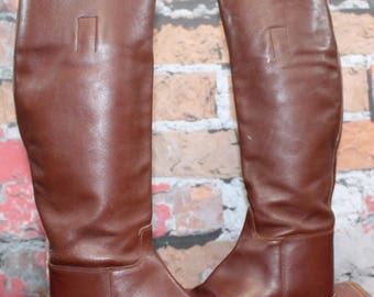 Vintage Marlborough Riding Boots Brown Leather Riding Boots English Equestrian Boots Women's Size UK 8.5B US 10--Made in England