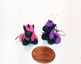 Unicorn Earrings, Glittery Pink & Purple  - Small