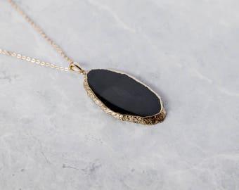 Black Agate Slice Necklace