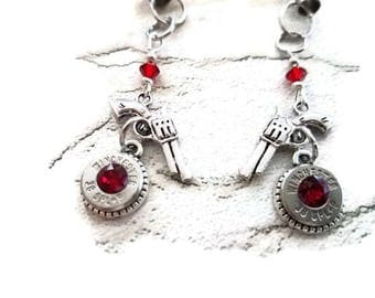 Bullet Jewelry - Bullet Designs - Bullet Earrings - Bullets and Pistols - 38 Special Bullets - Bullets with Red Crystals - Pistol Earrings