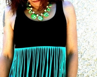 """Jack"" black with green fringe tank top T-shirt"