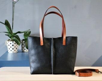 Leather tote bag ,handmade leather bag ,tote bag ,large leather bag,Black leather bag,borsa di cuoio,