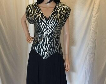 Vintage JSJ Women's Black V Neck Cocktail Dress with Silver Metallic Accents