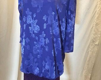 Vintage Siasia NY Purple Mod Long Sleeve V Neck Dress Drop Waist Banded Bottom
