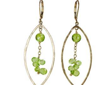 Peridot earrings Peridot hoop earring peridot oval hoop earring August birthday gift for her August birthstone handmade gold hoop earring