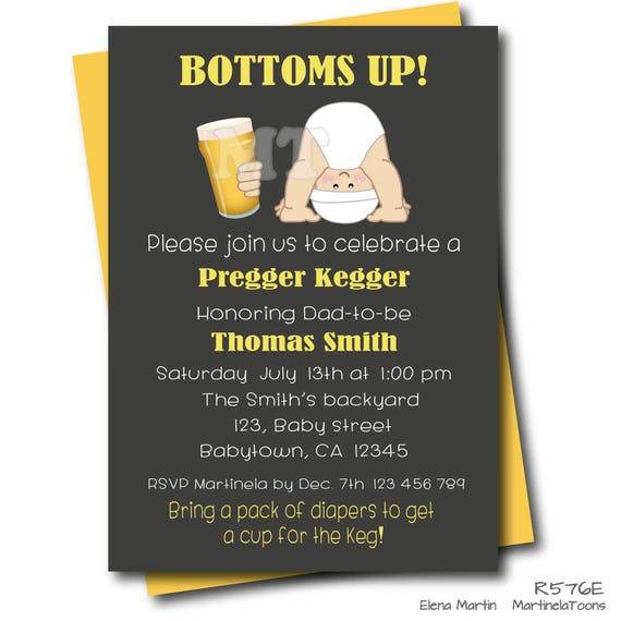 Pregger Kegger Coed Baby Shower Invitation Dad