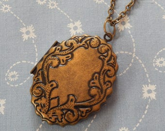 Huge Oval Locket Vintage Look Antique Brass Floral Pendent Necklace