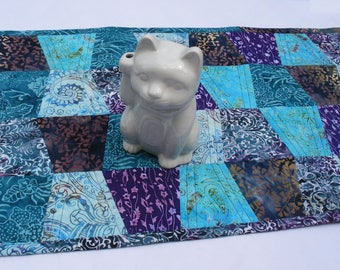 """Teal, Blue, Purple Batik Tumbler Quilted Table Runner 16"""" x 35"""" Cool colors"""