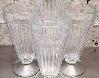 Vintage Ice Cream Sundae/Soda Glass/Set of 4/Mid Century Ice Cream Parlor Sundae/Clear Ribbed Sundae Glasses/Dessert Glass/Hot Fudge Sundae