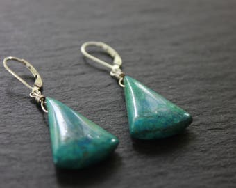 Chrysocolla and Sterling Silver Earrings