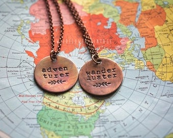 Boheme Collection | Adventurer Wanderluster Long Layering Necklace | Hand-stamped Distressed Brass Pendant Boho Jewelry Tassel