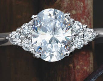 White Gold or Platinum 8x6mm Oval Forever One Moissanite Engagement Ring - LOW PROFILE SETTING - 14K 18K Platinum Setting