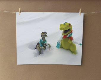 Raptor Meets Reptar Photo Print, Snow Day, Snow Photo